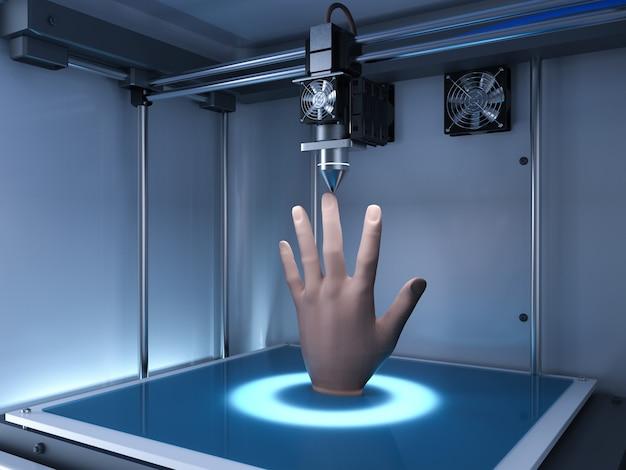 Renderização 3d impressora 3d imprimir mão protética