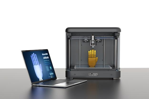 Renderização 3d impressora 3d mão robô de impressão
