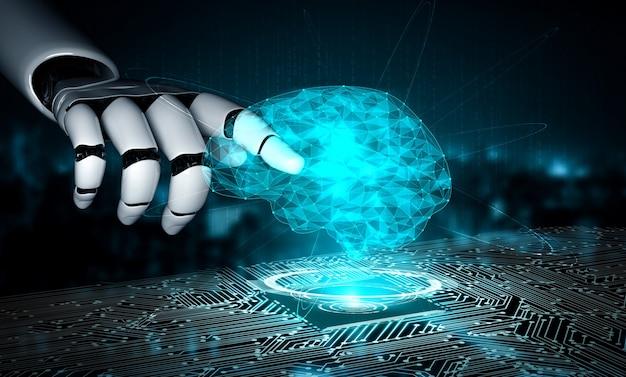 Renderização 3d inteligência artificial pesquisa de ia de desenvolvimento de robôs e ciborgues