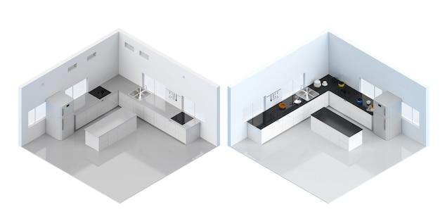 Renderização 3d interior da cozinha com balcão e geladeira isométrica