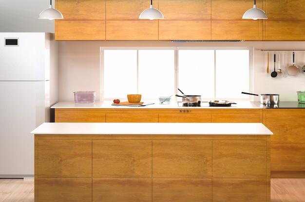 Renderização 3d interior da cozinha com balcão vazio