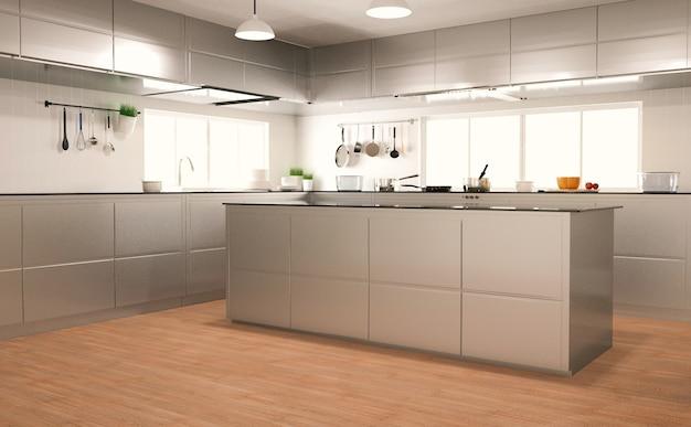 Renderização 3d interior de cozinha moderna em piso de madeira