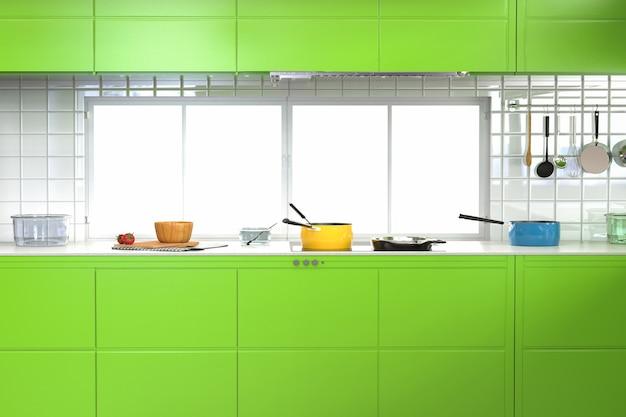 Renderização 3d interior de cozinha verde com armários e utensílios de cozinha