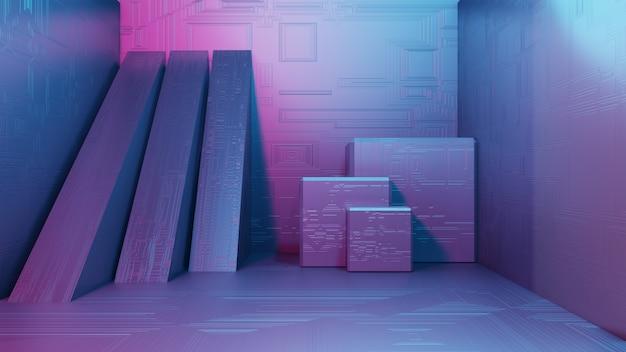 Renderização 3d interior de ficção científica formas geométricas simples paisagem de uma cidade alienígena fantástica