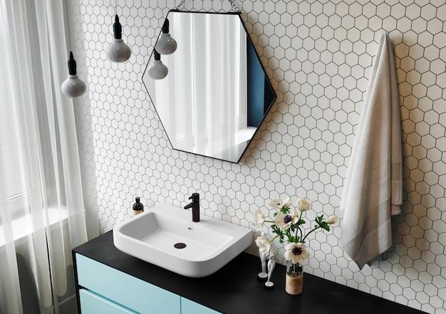Renderização 3d. interior de uma moderna casa de banho com espelho hexagonal e paredes em mosaico.