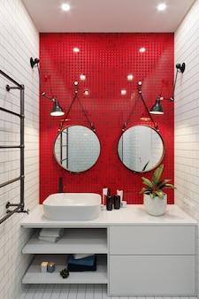 Renderização 3d. interior de uma moderna casa de banho com um mosaico na parede. mosaico cerâmico de cores vermelhas e brancas.