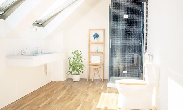 Renderização 3d interior do banheiro