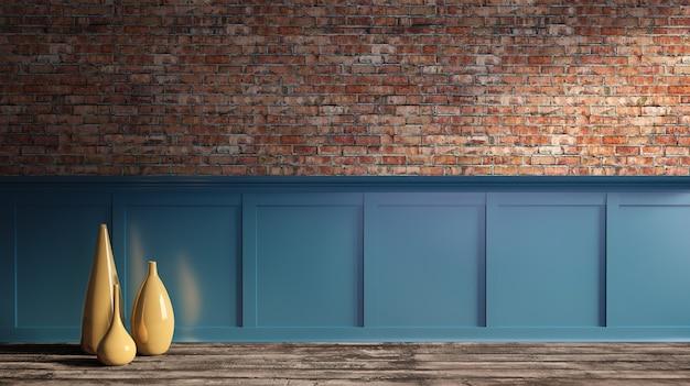 Renderização 3d interior do loft parede de tijolo vermelho áspero, piso de parquete, painel azul, moldagem de vaso de cerâmica dourada