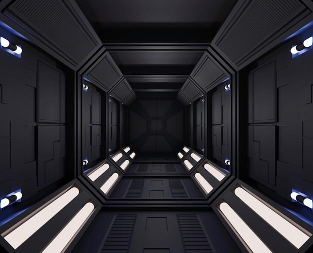 Renderização 3d interior escuro de nave espacial com vista, túnel, pequenas luzes do corredor