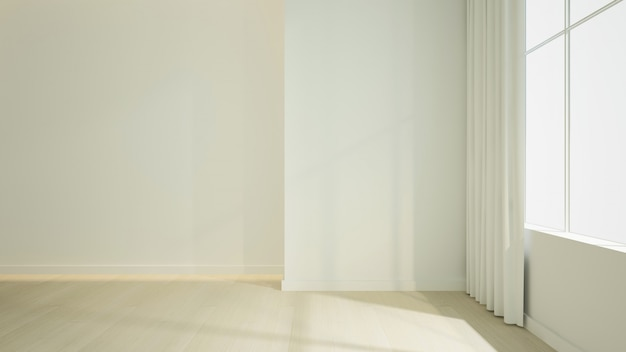 Renderização 3d interior espaço vazio no hotel