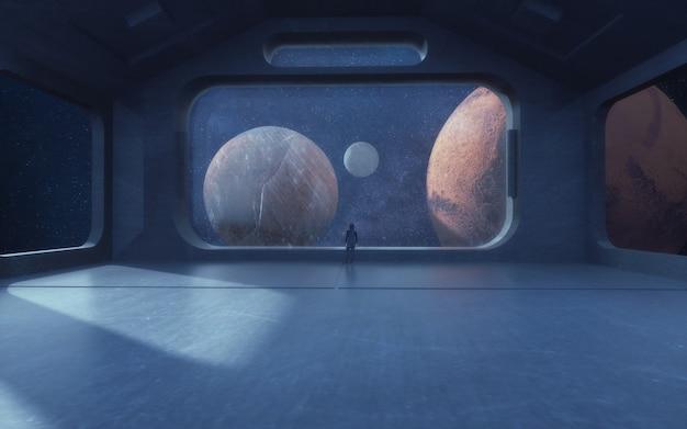 Renderização 3d. interior futurista e planetas