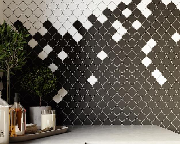 Renderização 3d. interior moderno do banheiro com padrão de azulejos preto e branco. prateleira com ferramentas de spa.