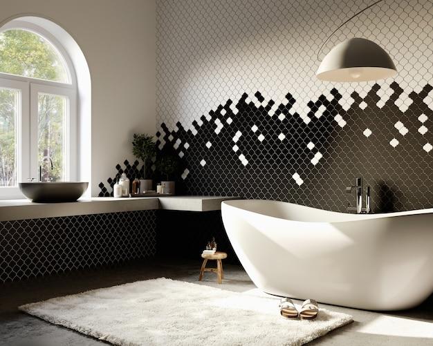 Renderização 3d. interior moderno do banheiro com parede padrão de azulejos preto e branco.