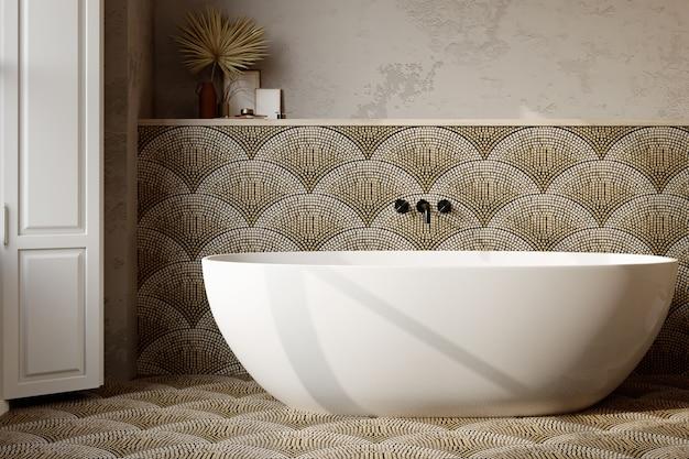 Renderização 3d. interior moderno do banheiro com paredes e piso de azulejos.