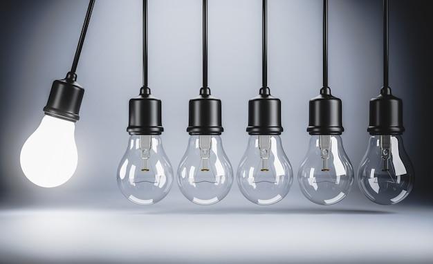 Renderização 3d; lâmpada suspensa de movimento perpétuo; ideia do conceito de criatividade