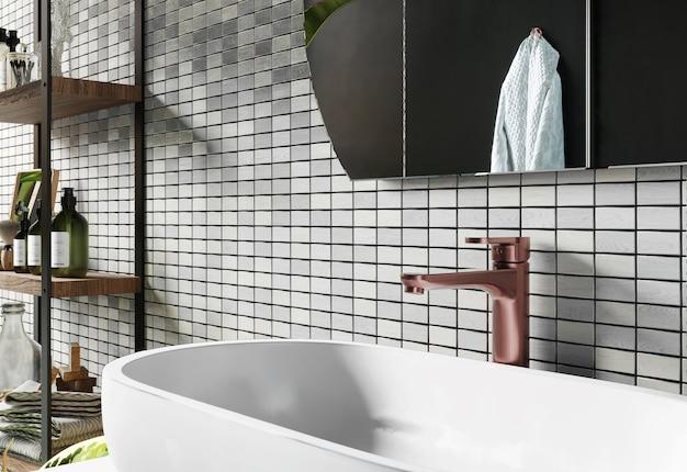 Renderização 3d. lavatório no banheiro. interior moderno com parede em mosaico.
