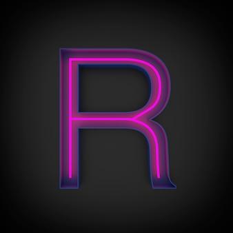 Renderização 3d, letra r maiúscula vermelha neon acesa, dentro da letra azul.