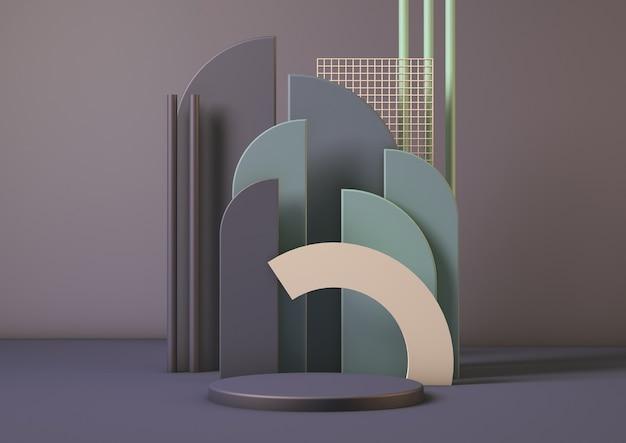 Renderização 3d limpe a cena de exibição do estúdio da plataforma do pedestal do produto abstrato mínimo