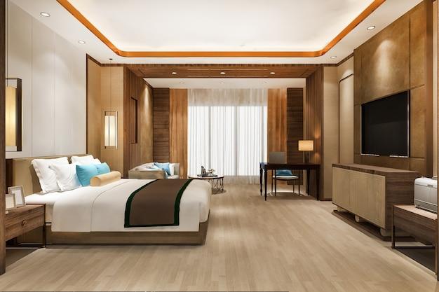Renderização 3d linda suíte luxuosa em hotel com tv e mesa de trabalho