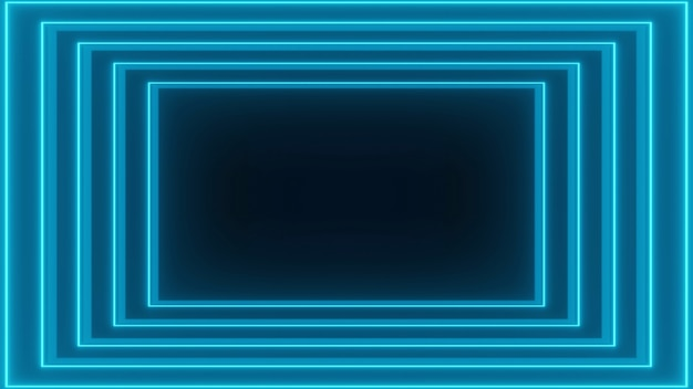 Renderização 3d, linhas brilhantes, luzes de néon, realidade virtual, fundo abstrato, portal quadrado, cores vibrantes do espectro azul, show de laser