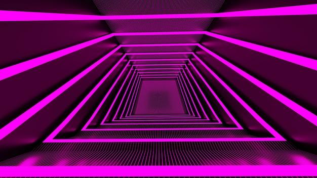 Renderização 3d, linhas de brilho, túneis de luz de néon. fundo abstrato virtual stepless portal curva quadrada espectro pétalas de rosa show de laser brilhante