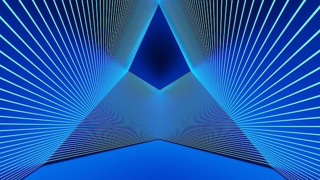Renderização 3d, linhas de brilho, túneis de luz de néon. fundo virtual abstrato stepless portal curva quadrada espectro pétalas azuis show de laser brilhante