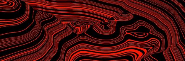 Renderização 3d. linhas de contorno de montanha vermelha. terreno topográfico.