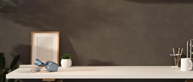Renderização 3d loft design de interiores de sala de escritório com suprimentos e artigos de papelaria 3d