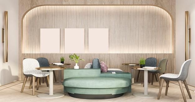 Renderização 3d, loft e hotel de luxo recepção e café lounge restaurante