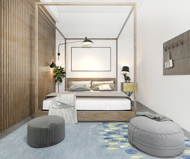 Renderização 3d loft lindo quarto de criança mínima