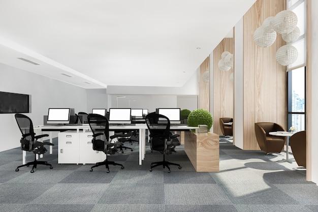 Renderização 3d loft reunião de negócios e sala de trabalho em prédio de escritórios