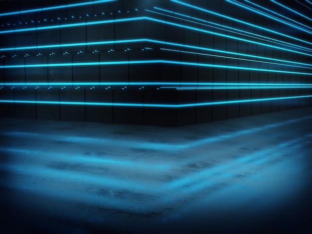Renderização 3d, longo corredor escuro com luzes azuis