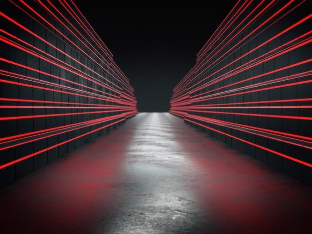 Renderização 3d, longo corredor escuro com luzes vermelhas