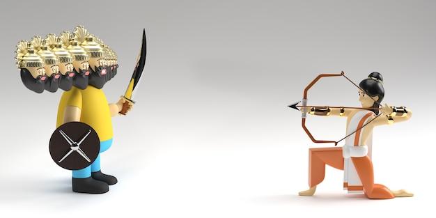 Renderização 3d lord rama com flecha matando ravana no festival navratri da índia dussehra poster.