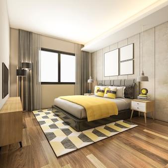 Renderização 3d, luxo bonito, quarto amarelo, suíte, em, hotel, com, tv