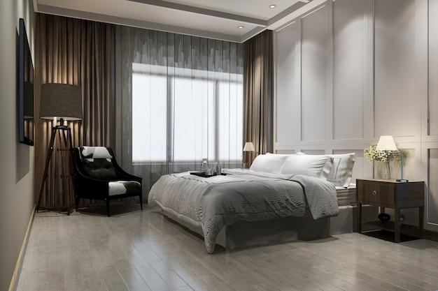 Renderização 3d, luxo bonito, suíte quarto vintage, em, hotel, com, tv