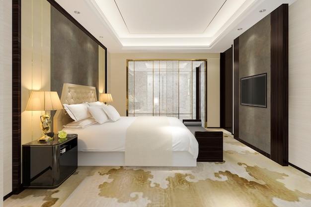 Renderização 3d, luxo moderno, quarto suite, e, banheiro