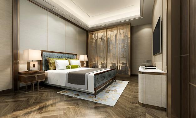Renderização 3d, luxo, modernos, quarto suite, em, hotel, com, roupeiro, e, closet, com, estilo chinês, decoração