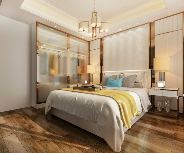 Renderização 3d, luxo, modernos, quarto suíte, em, hotel, com, roupeiro, e, closet