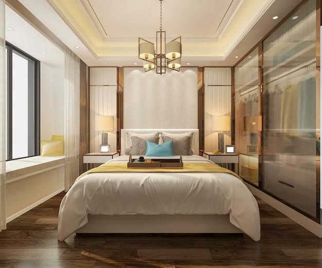 Renderização 3d, luxo, modernos, quarto suite, em, hotel, com, roupeiro, e, closet