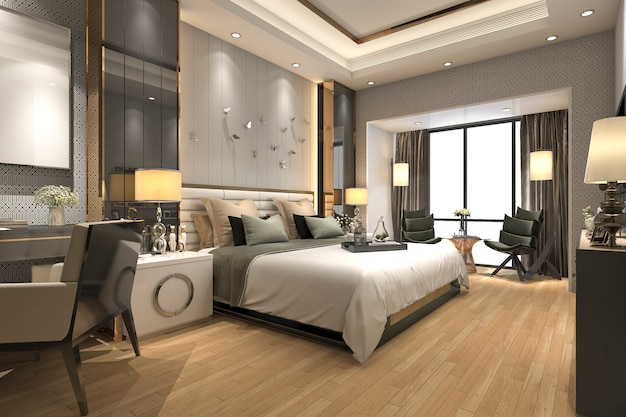 Renderização 3d, luxo, modernos, quarto suite, em, hotel