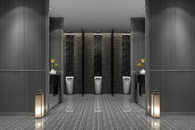 Renderização 3d, luxo, público, banheiro masculino