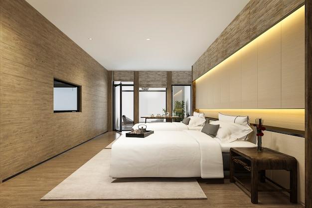 Renderização 3d, luxo, tropicais, quarto, suíte, em, hotel resort, e, recurso, com, cama gêmea
