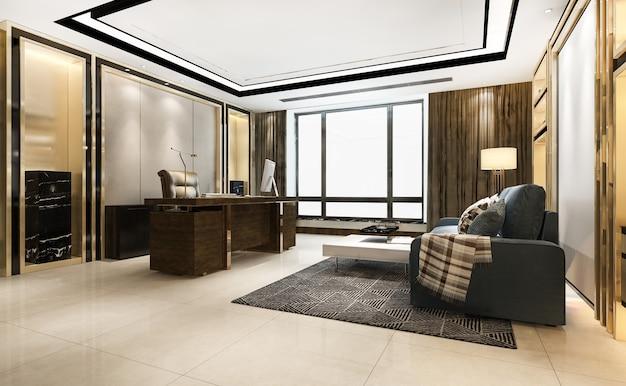 Renderização 3d luxuosa reunião de negócios e sala de trabalho no escritório executivo