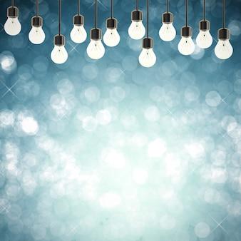 Renderização 3d luzes cintilantes no fundo abstrato azul vazio