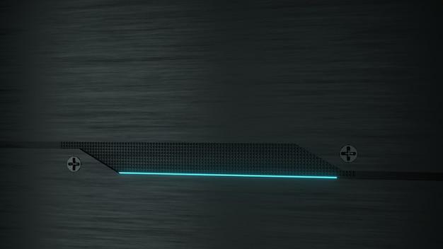 Renderização 3d. luzes de néon azuis abstraem base