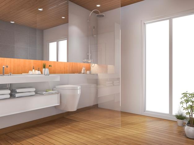 Renderização 3d, madeira, banheiro banheiro, perto janela