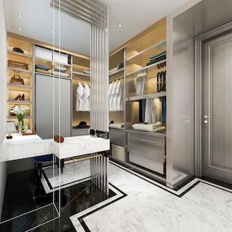 Renderização 3d madeira branca moderna caminhada no armário com roupeiro próximo compõem a mesa