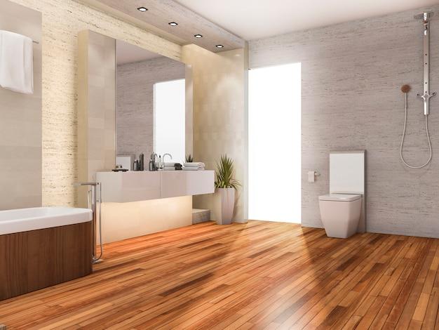 Renderização 3d madeira brilhante banheiro com decoração moderna