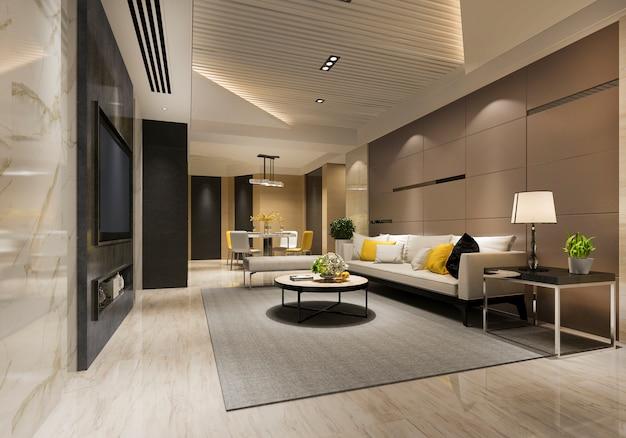 Renderização 3d madeira clássica sala de estar e sala de jantar com prateleira